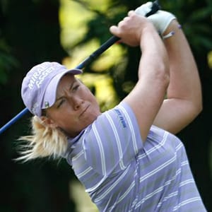 LPGA golfer Brittany Lincicome is shown taking a shot at a tournament in August 2012.