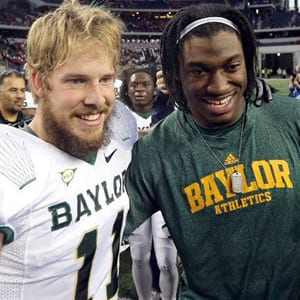 Baylor quarterback Nick Florence is shown with Robert Griffin III.