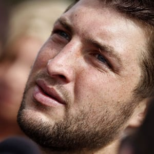 Quarterback Tim Tebow is shown at New York Jets training camp in 2012.